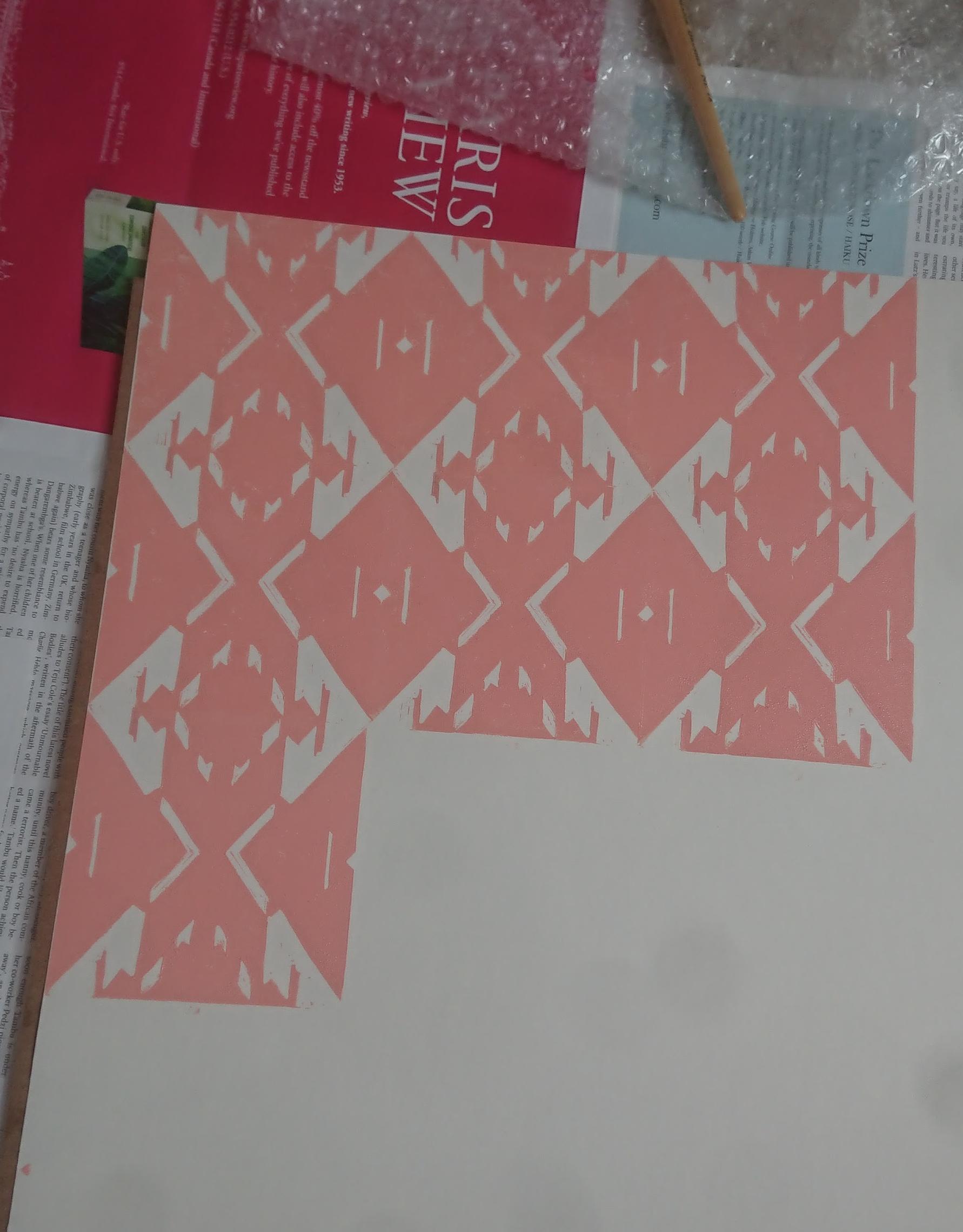 Linocut pattern print