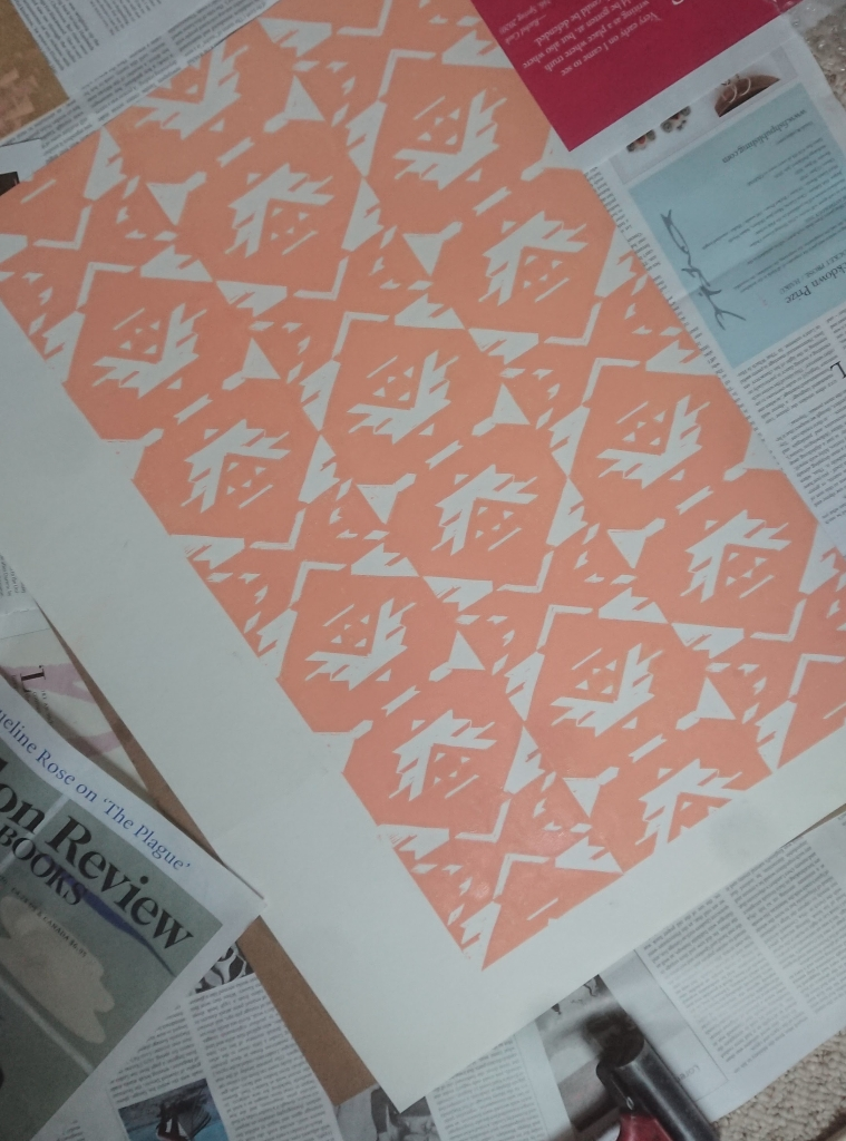 Linocut pattern print 1